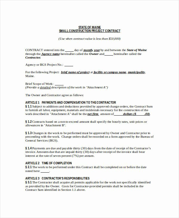 Contract for Construction Work Template New Construction Contract Template 12 Word Pdf Apple