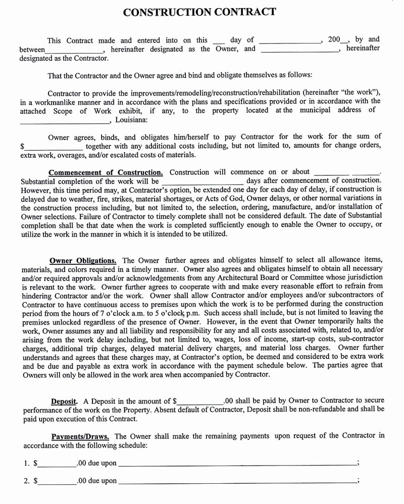Contract for Construction Work Template New Construction Pany Contract Template