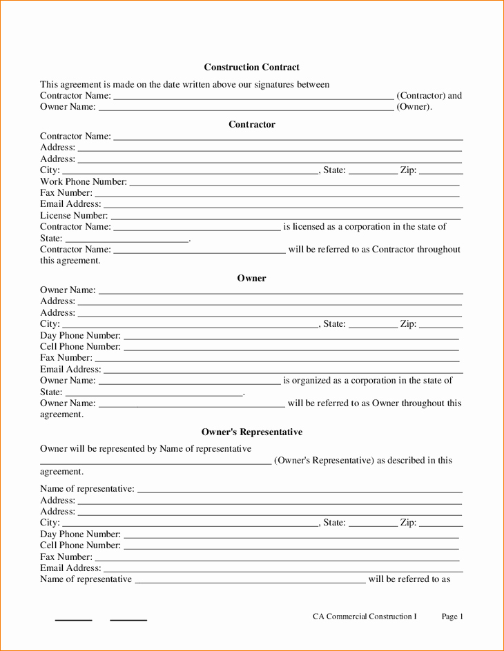 Contract for Construction Work Template Unique 8 Free Construction Contract Template