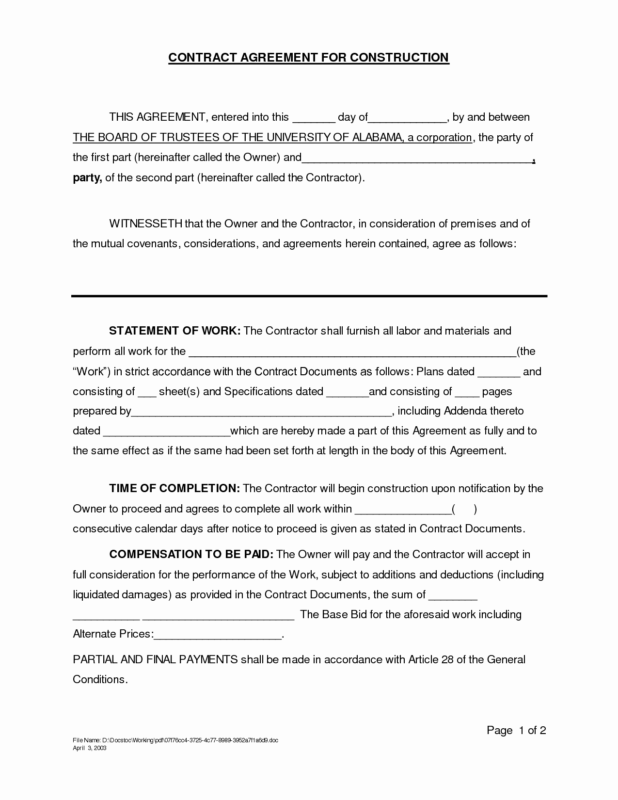 Contract for Construction Work Template Unique Contract for Construction Work Template