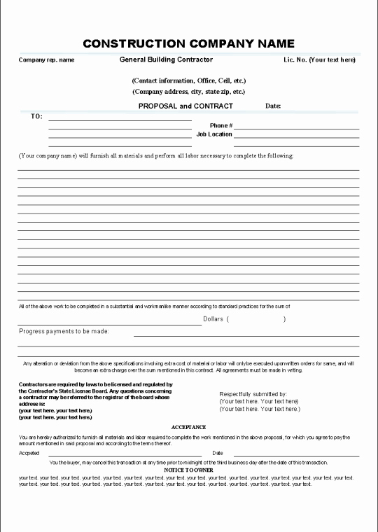 Contract for Construction Work Template Unique Printable Sample Construction Contract Template form