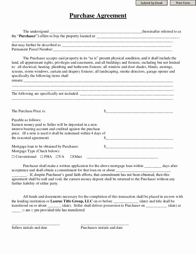 Contract for Money Owed Template Elegant Purchase Agreement Laurus Title Group