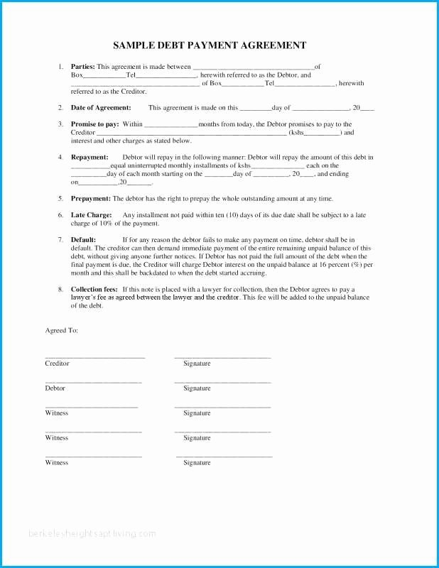 Contract for Money Owed Template Fresh I Owe You Contract Template Easy Payment Agreement