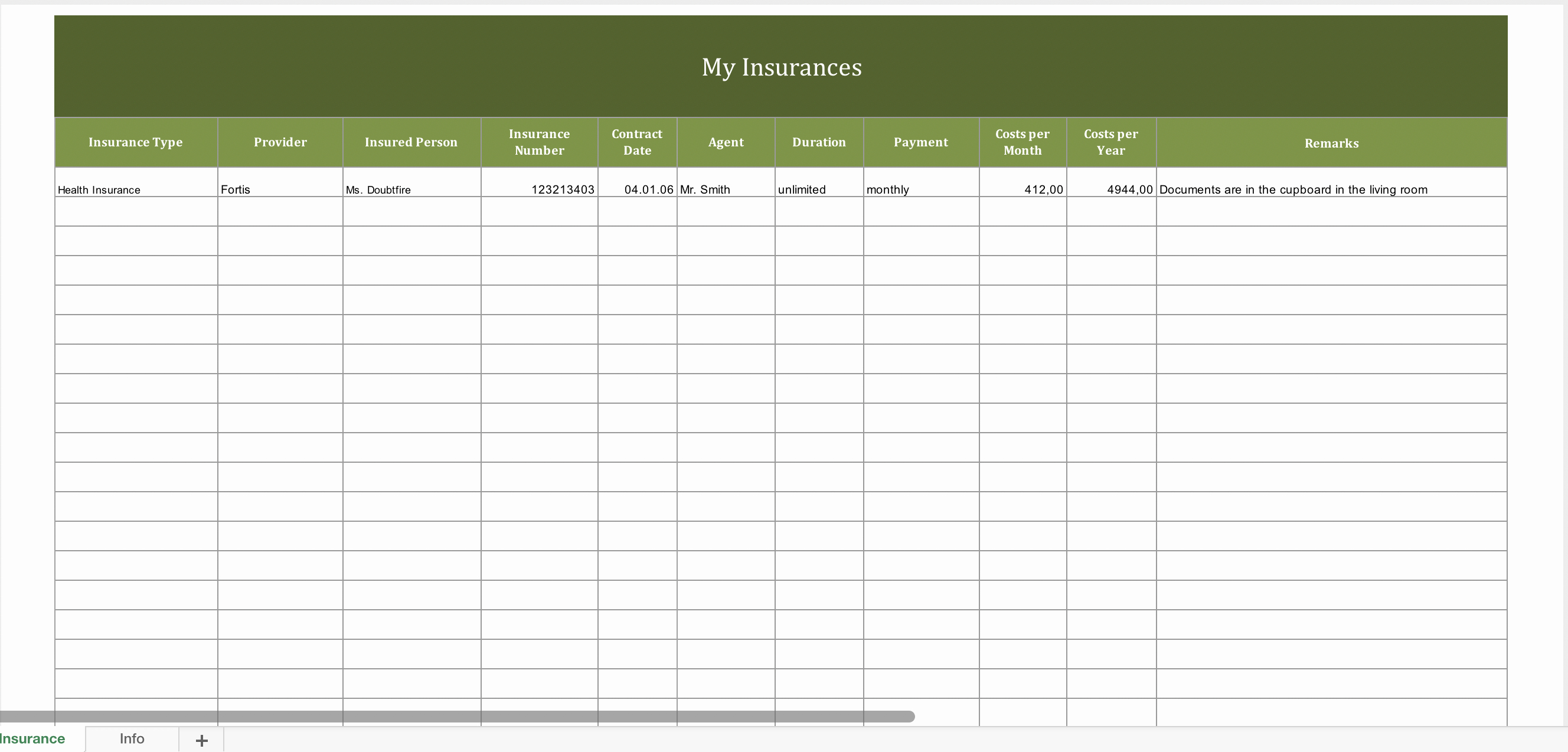 Contract Management Template Excel Awesome Insurance Contract Management