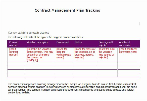 Contract Management Template Excel Fresh Contract Tracking Template 10 Free Word Excel Pdf