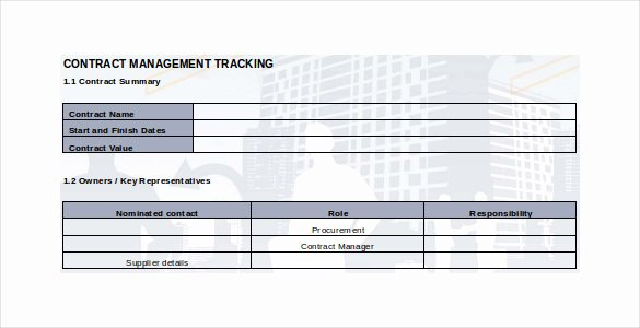 Contract Management Template Excel Unique Contract Tracking Template 10 Free Word Excel Pdf