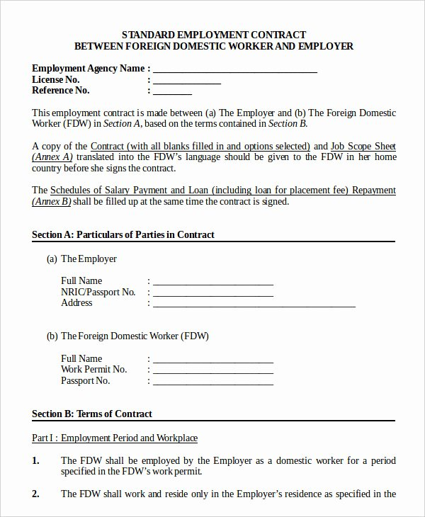 Contract Of Employment Template Awesome Employment Contract Template 9 Free Sample Example