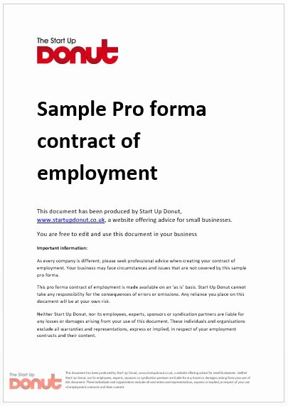 Contract Of Employment Template Awesome Free Printable Employment Contract Sample form Generic