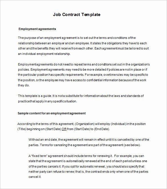 Contract Of Employment Template Beautiful 18 Job Contract Templates Word Pages Docs