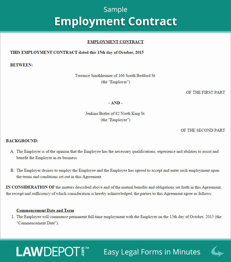 Contract Of Employment Template Beautiful Employment Contract Template Us Lawdepot
