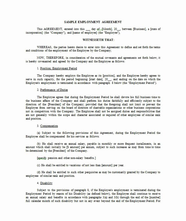 Contract Of Employment Template Best Of 40 Great Contract Templates Employment Construction