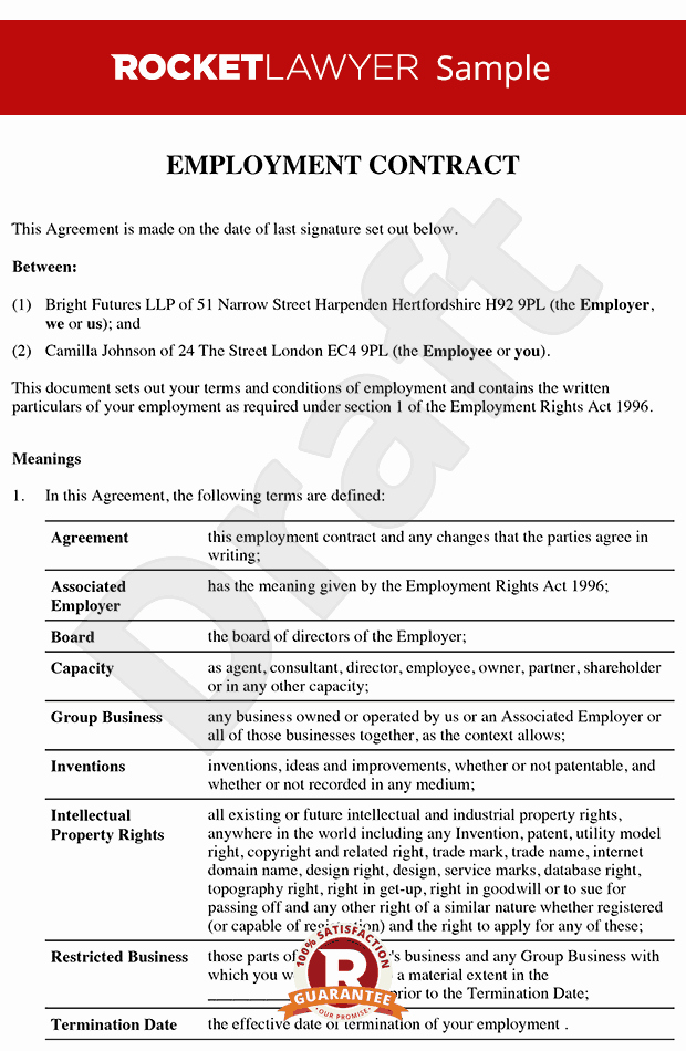 Contract Of Employment Template Best Of Senior Employment Contract Executive Employment Agreement