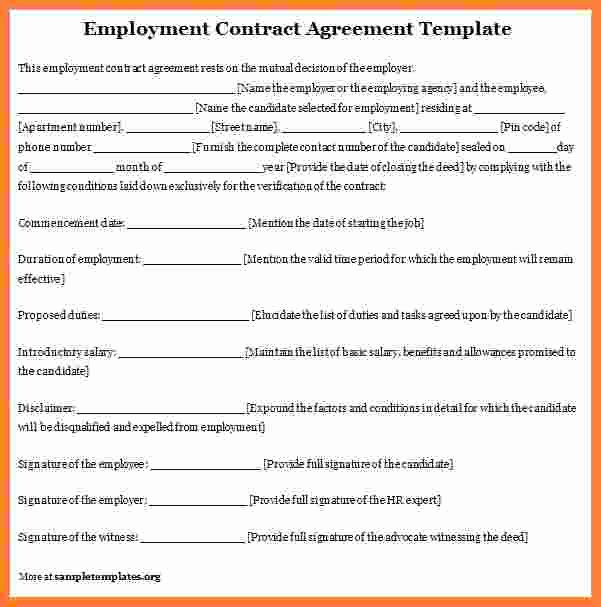 Contract Of Employment Template Elegant 4 Employee Contract Template