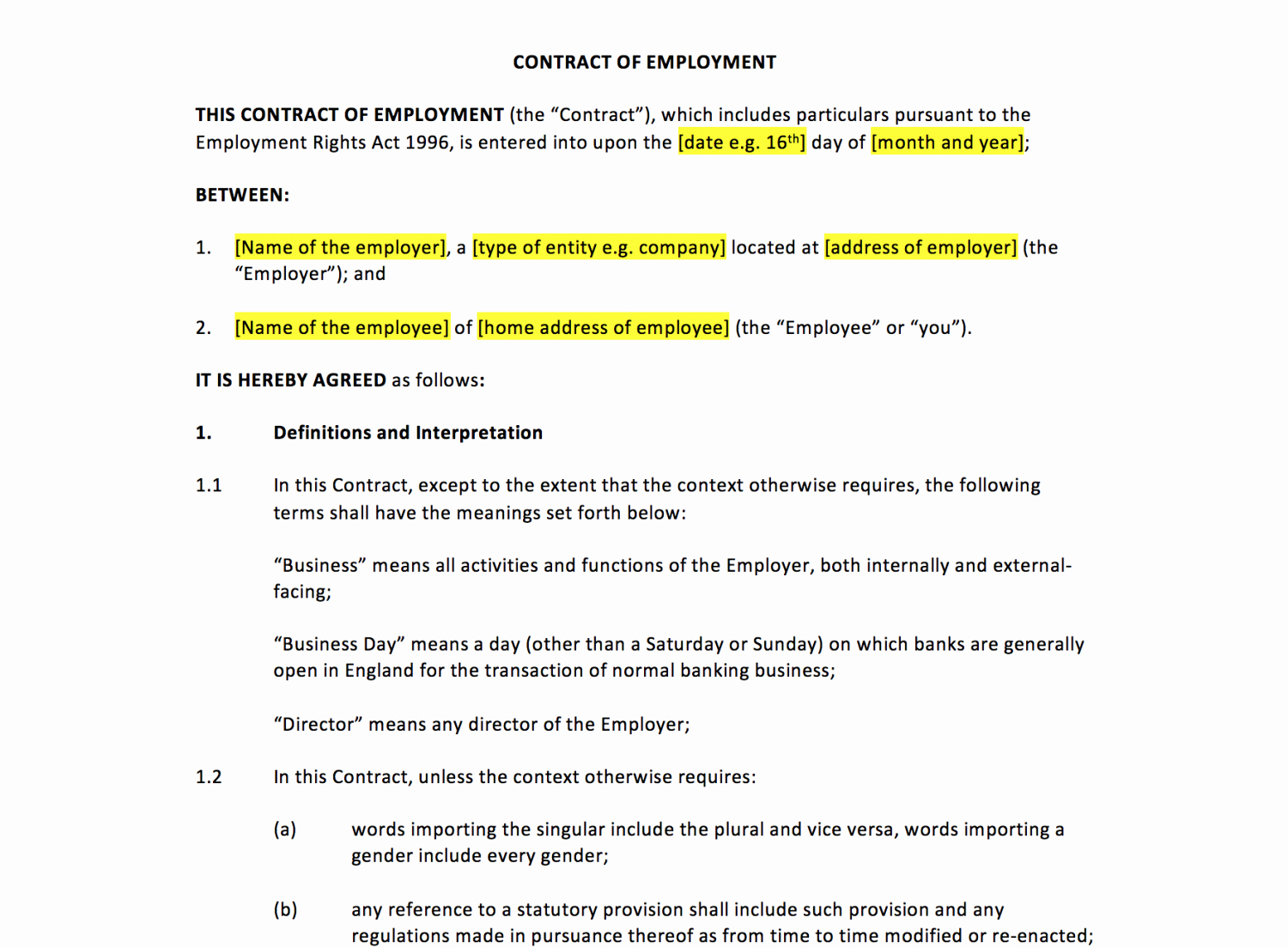 Contract Of Employment Template Inspirational Employment Contract Template – Uk Template Agreements and