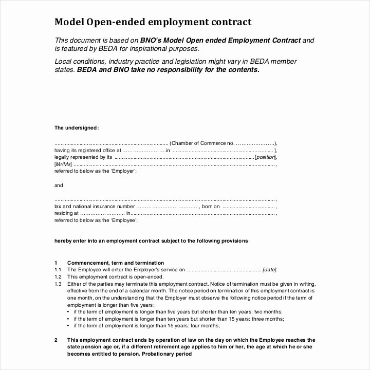 Contract Of Employment Template Lovely 13 Employment Contracts for Restaurants Cafes and