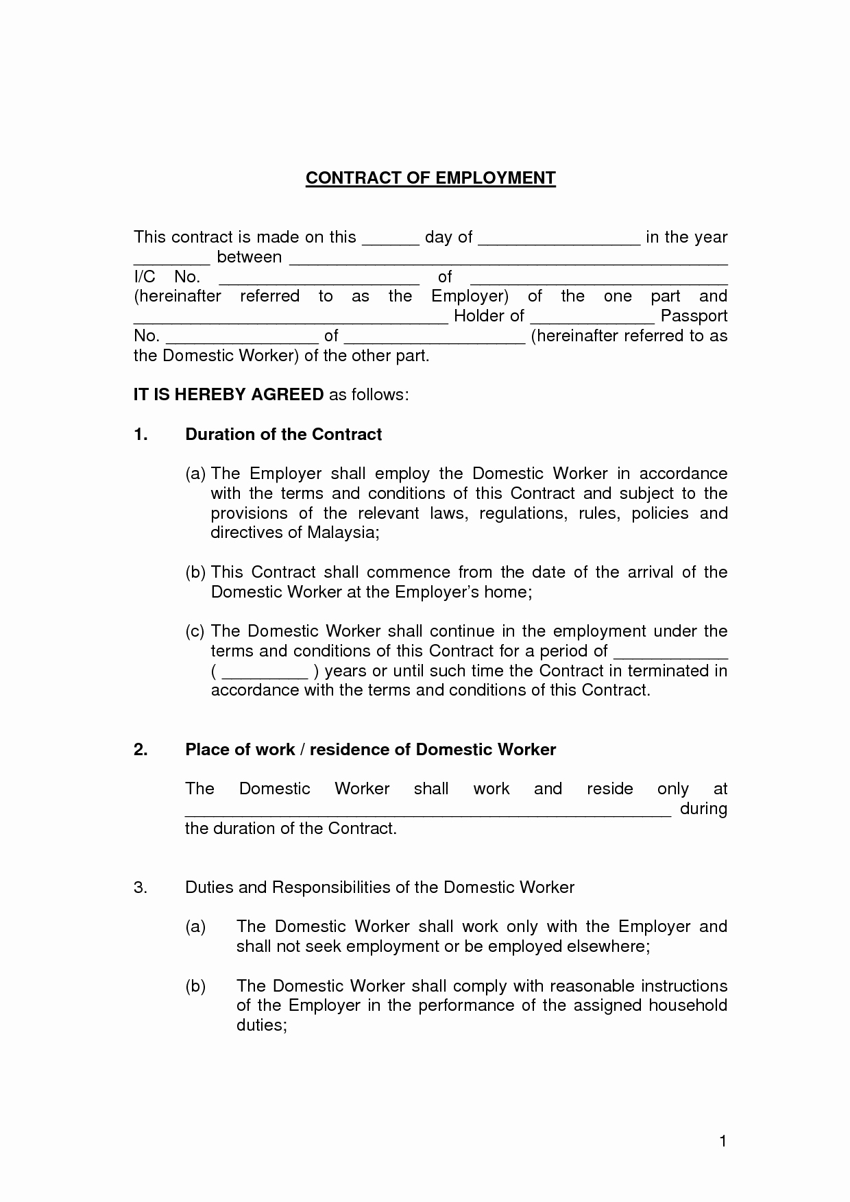 Contract Of Employment Template Lovely Printable Sample Employment Contract Sample form