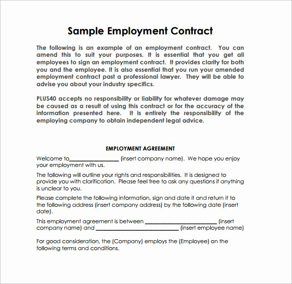 Contract Of Employment Template Luxury 10 Job Contract Templates to Download for Free