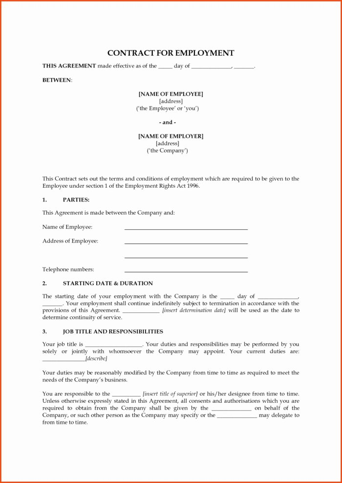 Contract Of Employment Template Luxury 1099 Employee Contract form Templates Resume Examples
