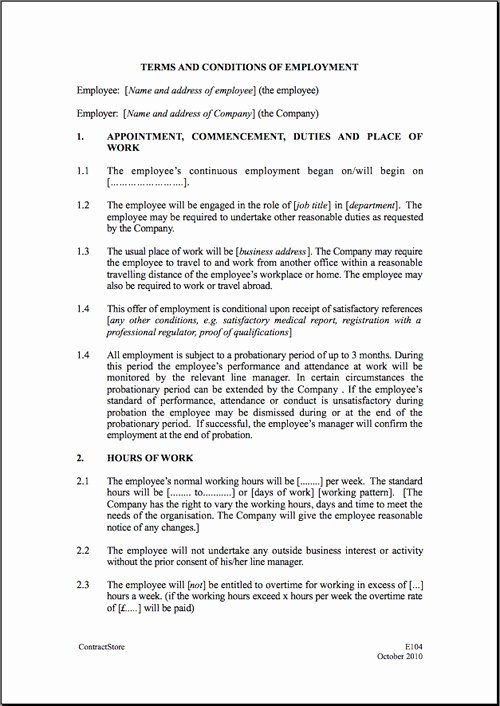 Contract Of Employment Template Luxury Employment Contract Template