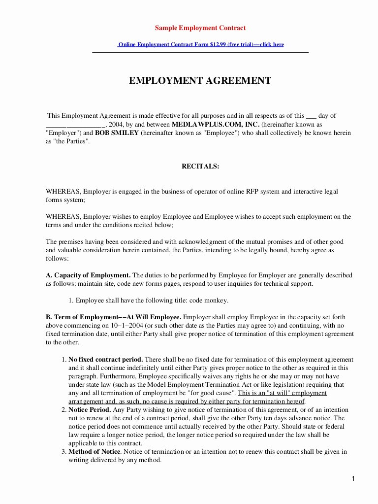 Contract Of Employment Template Luxury Sample Employment Contract