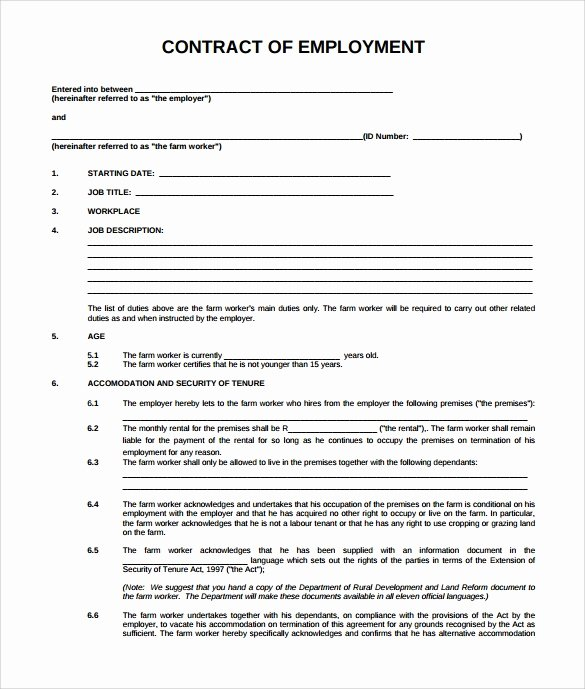 Contract Of Employment Template New 20 Sample Employment Contract Templates Docs Word
