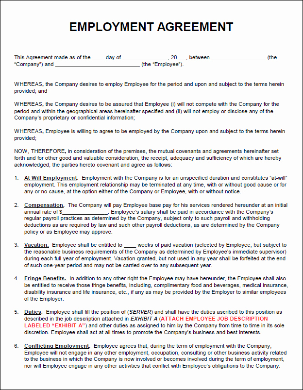 Contract Of Employment Template Unique Employment Agreement Template
