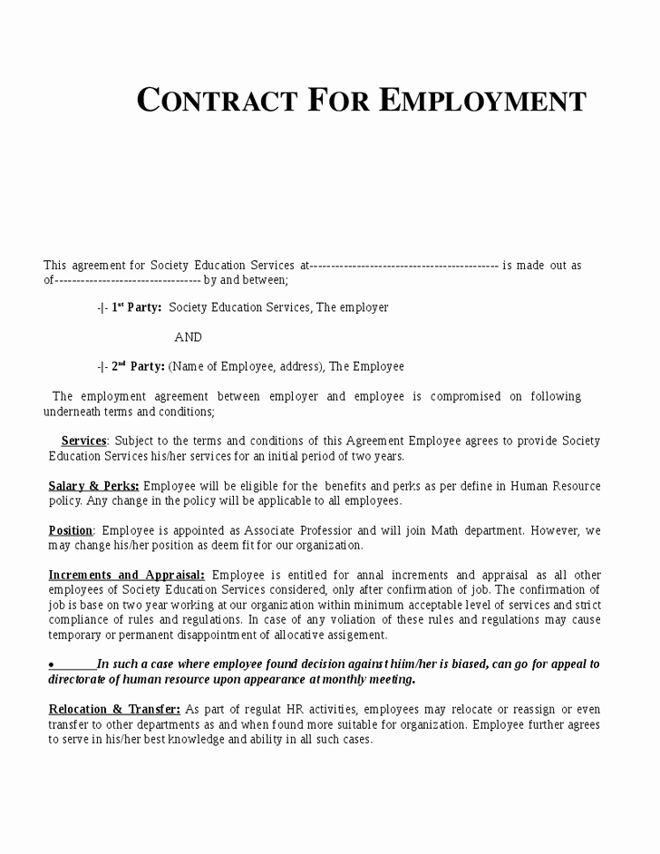 Contract Of Employment Template Unique Employment Contract Template