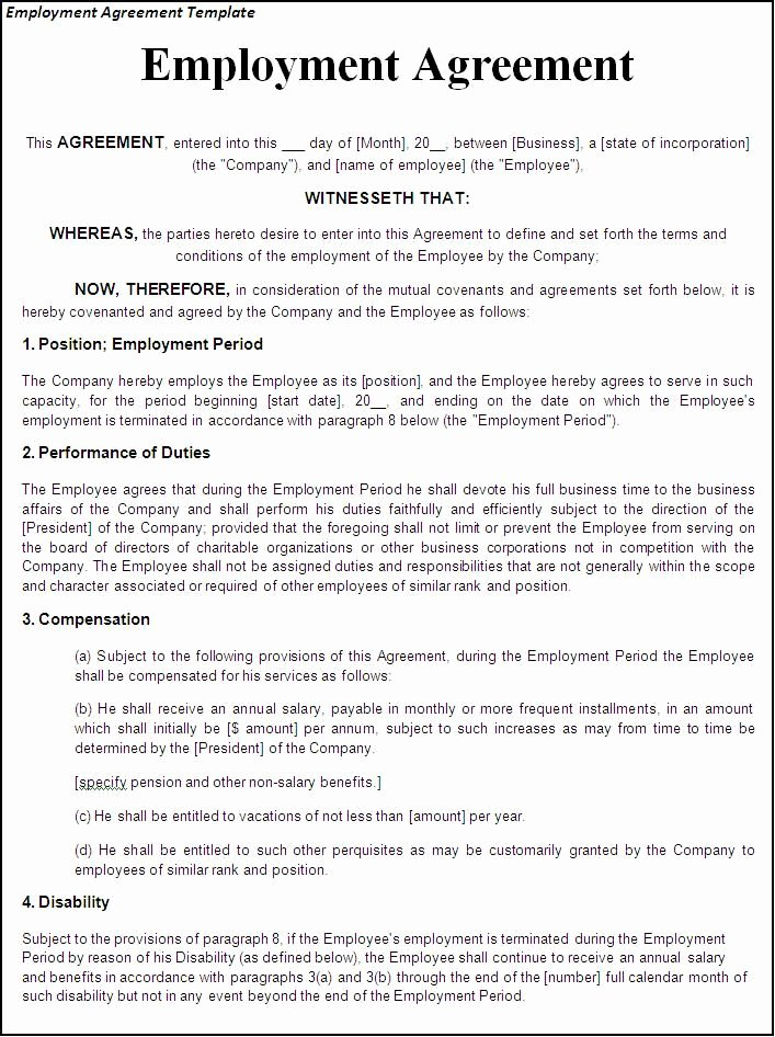 Contract Of Employment Template Unique Printable Sample Employment Contract Sample form
