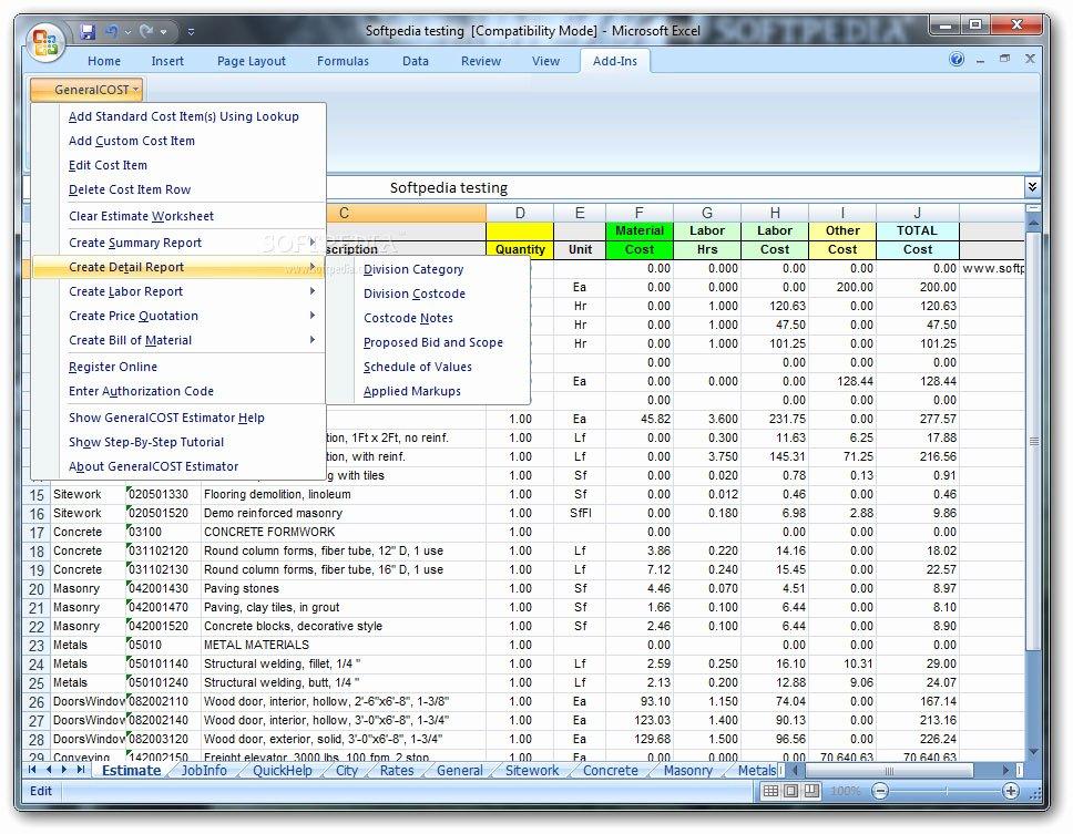 Contractor Estimate Template Excel Best Of Construction Cost Estimator