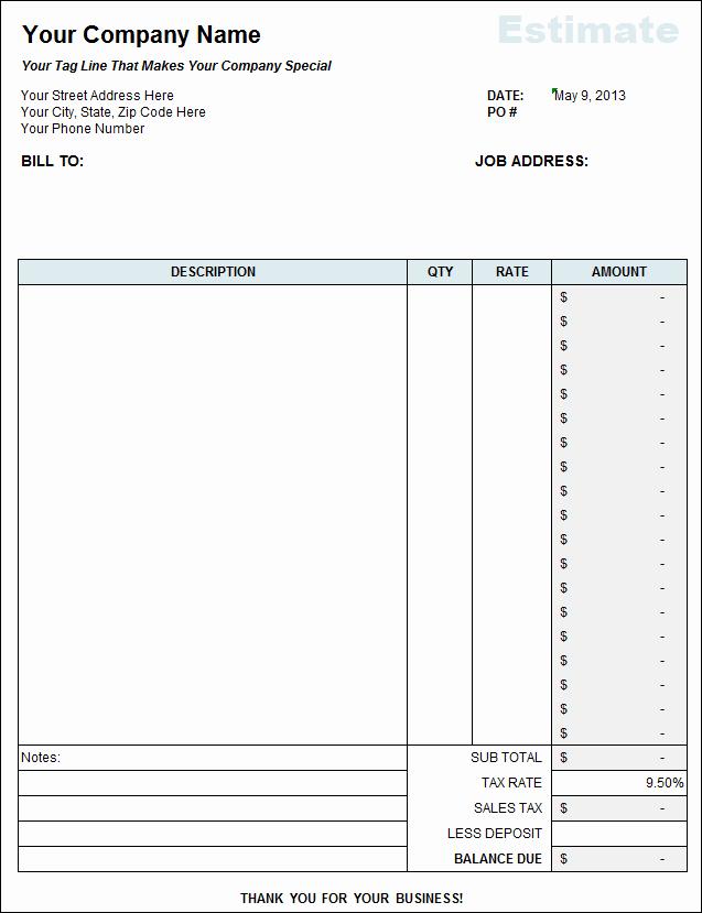 Contractor Estimate Template Excel Best Of Free Contractor Estimate Template Excel