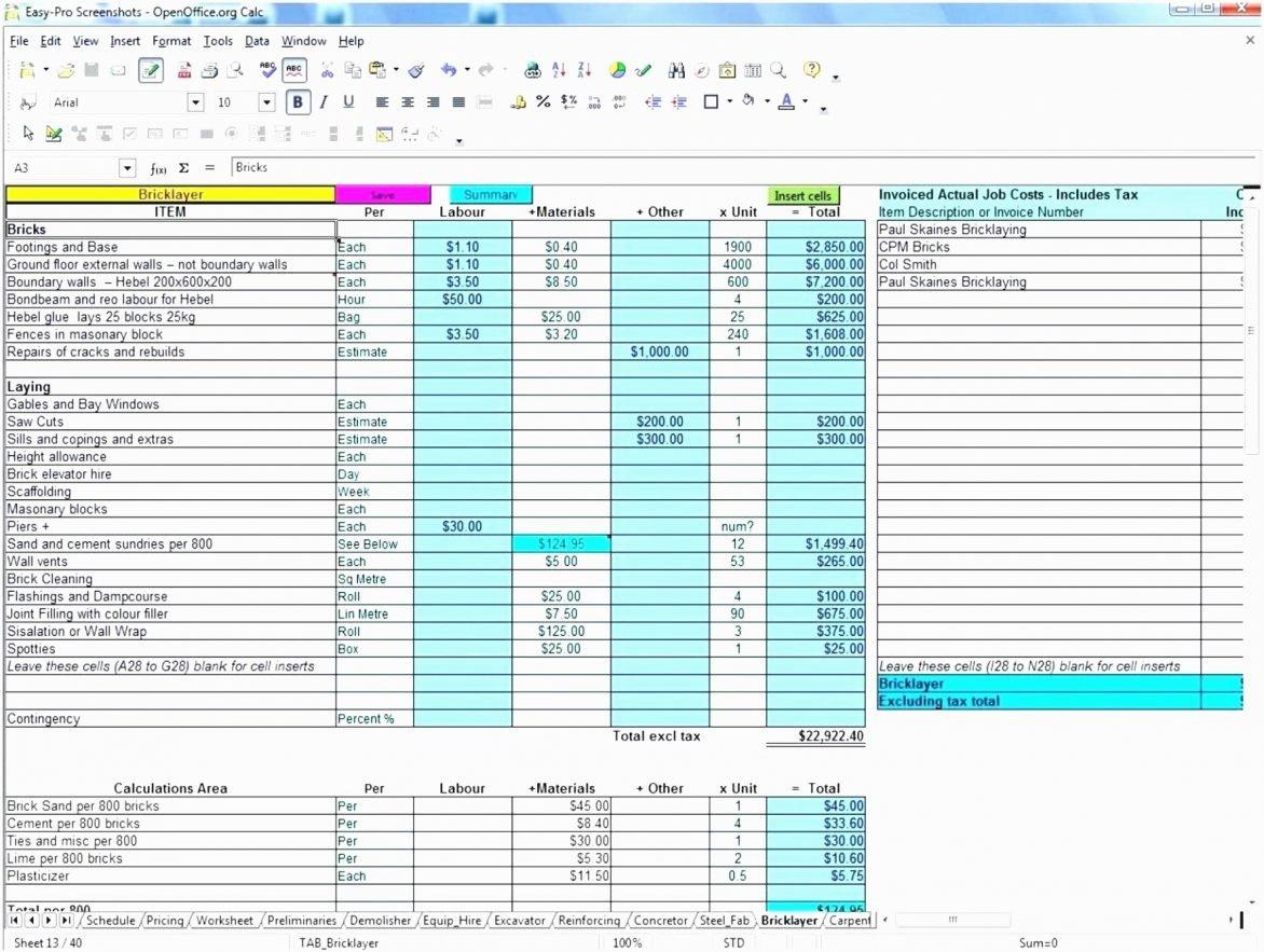 Contractor Estimate Template Excel Elegant Construction Bid form Excel Example Of Spreadshee