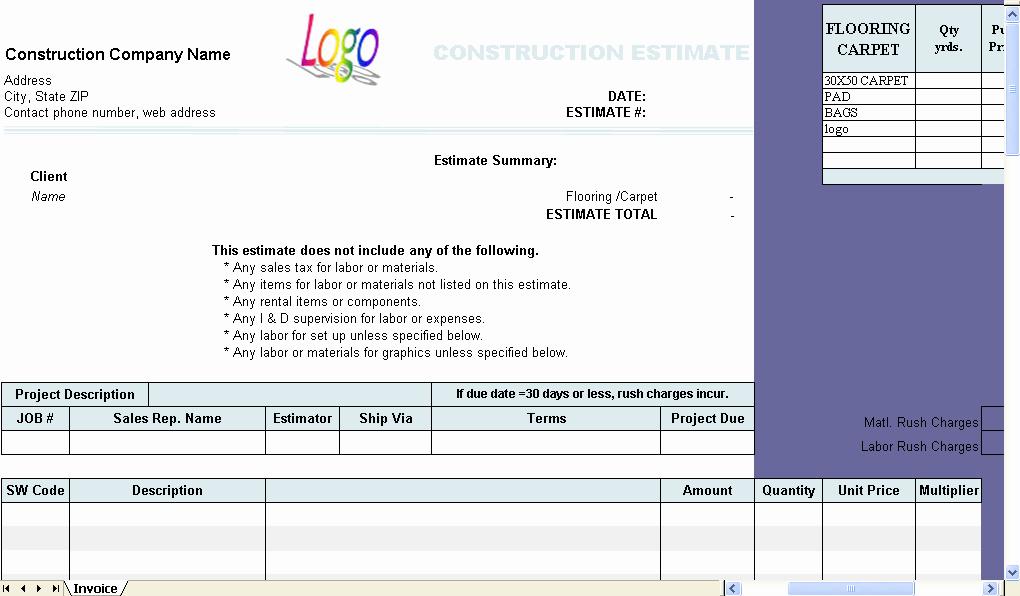 Contractor Estimate Template Excel Fresh Construction Estimate Template Uniform Invoice software