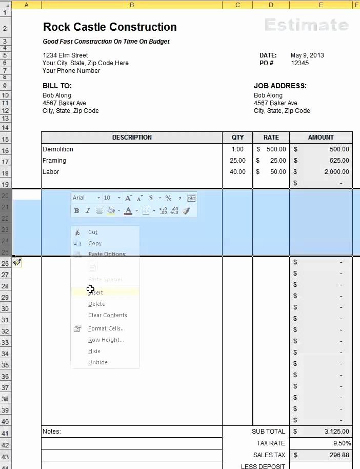 Contractor Estimate Template Excel Inspirational Free Construction Estimate Template Excel