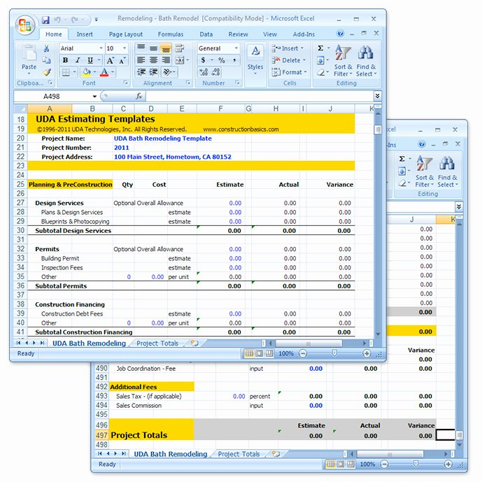 Contractor Estimate Template Excel Lovely Uda Construction Estimating Templates Remodeling Excel