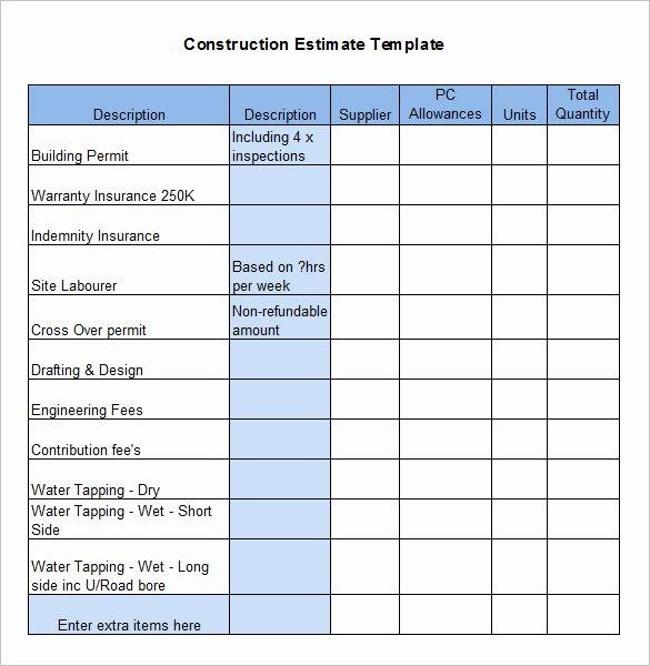Contractor Estimate Template Excel Luxury 5 Construction Estimate Templates Pdf Doc Excel