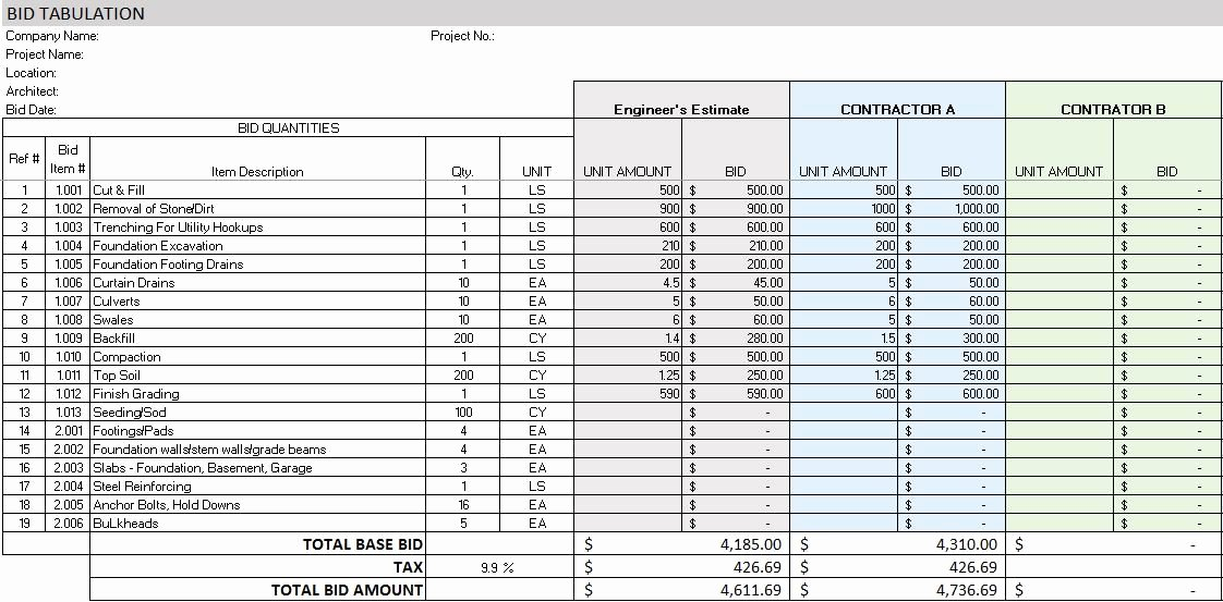 Contractor Estimate Template Excel Luxury Free Construction Project Management Templates In Excel