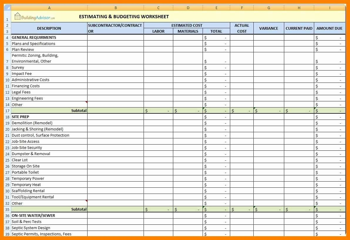 Contractor Estimate Template Excel New Construction Estimating Templates for Excel Free Example