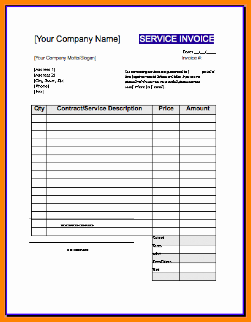 Contractor Invoice Template Excel Awesome 5 Free Contractor Invoices