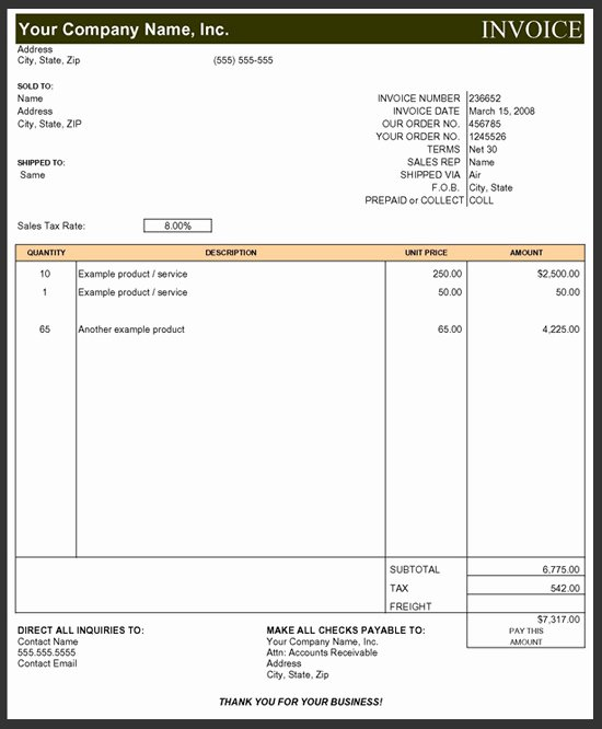 Contractor Invoice Template Excel Elegant Subcontractor Invoice Template Excel