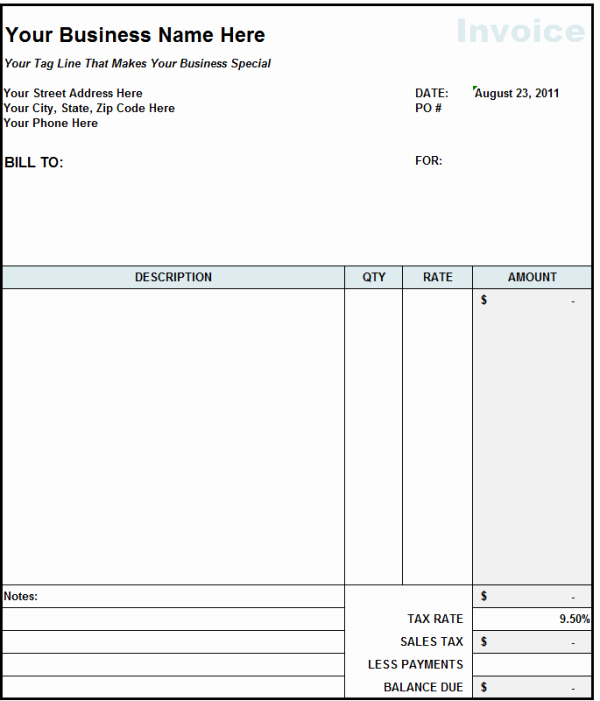 Contractor Invoice Template Excel Fresh Subcontractor Invoice Template Excel