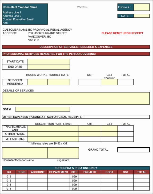 Contractor Invoice Template Excel Inspirational Contractor Invoice Template 6 Printable Contractor Invoices
