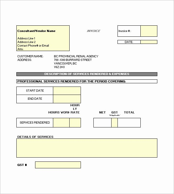 Contractor Invoice Template Excel New Construction Invoice Template 15 Free Word Excel Pdf