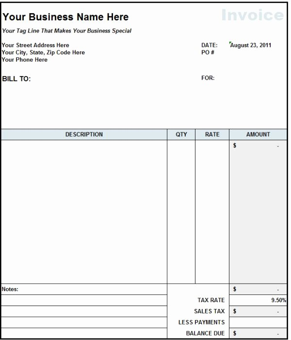Contractor Invoice Template Excel Unique Blank Invoice Statement form