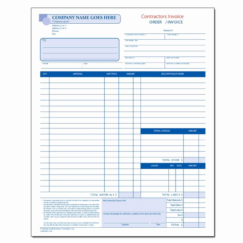 Contractor Invoice Template Free Awesome Business forms Custom Printing
