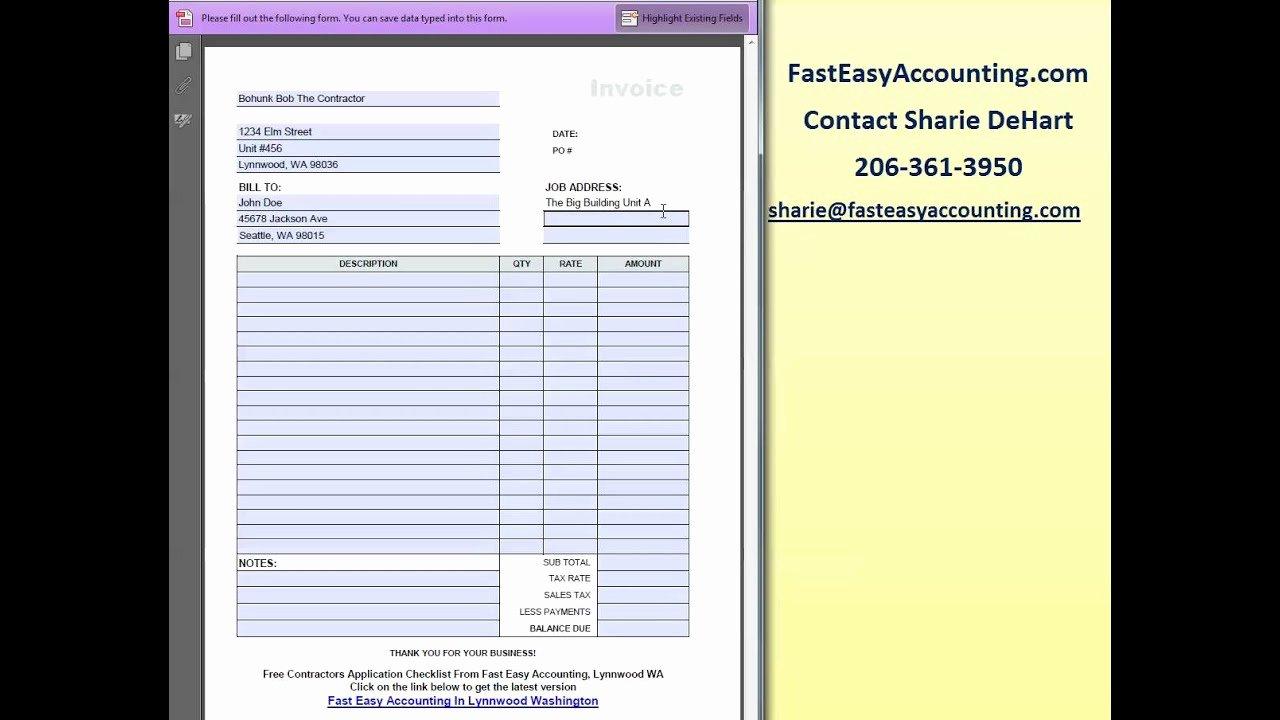 Contractor Invoice Template Free Elegant Free Invoice Template for Contractors by Fast Easy