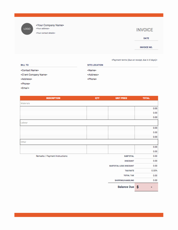 Contractor Invoice Template Free Fresh Contractor Invoices Onlineblueprintprinting