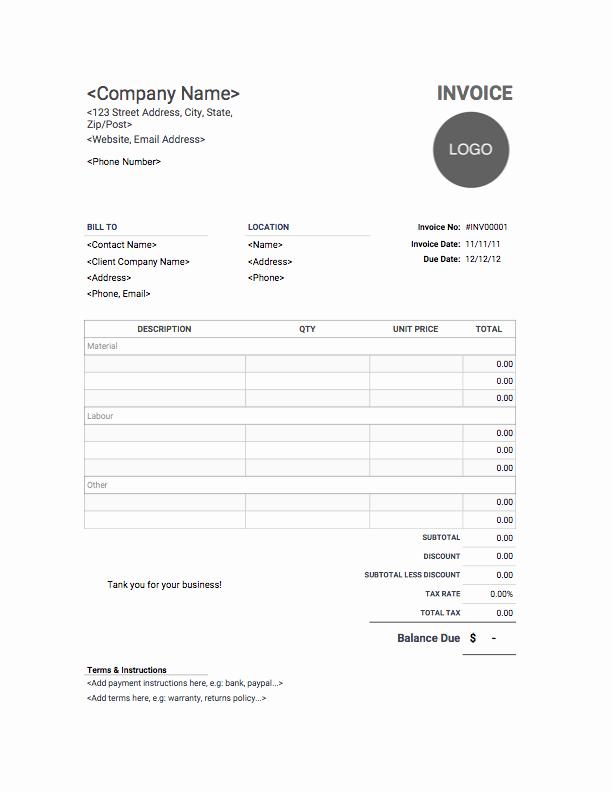 Contractor Invoice Template Free Unique Contractor Invoice Template