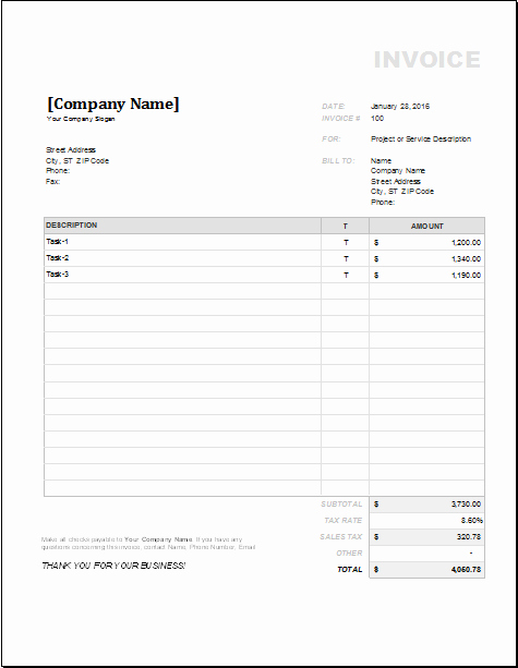 Contractor Invoice Template Word Lovely 4 Customizable Invoice Templates for Excel