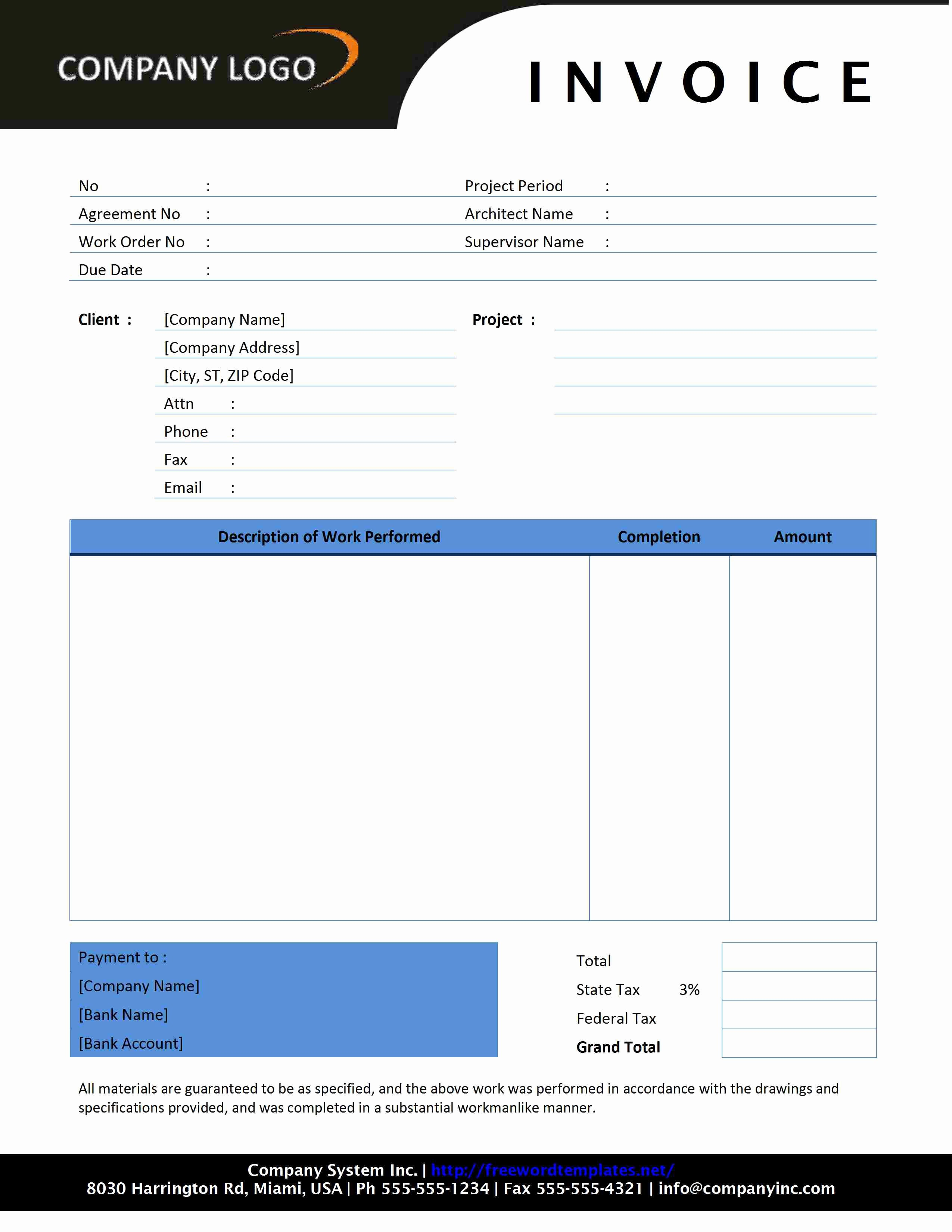 Contractor Invoice Template Word New Contractor Invoice