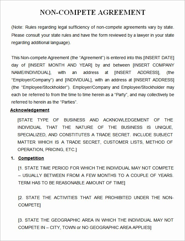 Contractor Non Compete Agreement Template Awesome 7 Sample Non Pete Agreement Templates to Download